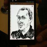 cheffe als Karikatur des Künstler Ivan Prado